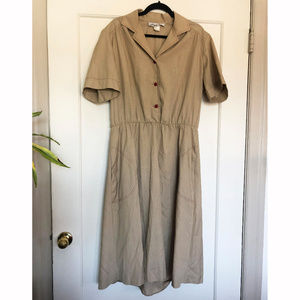 Vintage 70s 80s Cotton Poly Shirt Dress w/ Pockets